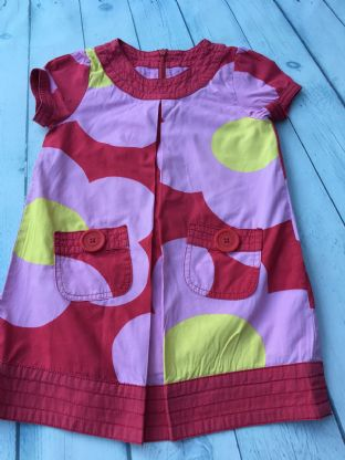 Mini Boden pink, red and yellow floral dress with pockets age 2-3